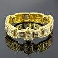 Legal do estilo Geométrico Pulseira para Homens Amarelo/Branco Banhado A Ouro CZ imitado Bracelete de diamantes Que Bling Hip Hop Jóias