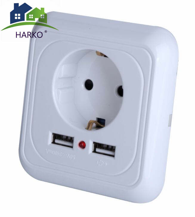 250V 16A EU Power Outlet Wall Socket Charger with 2  USB Ports
