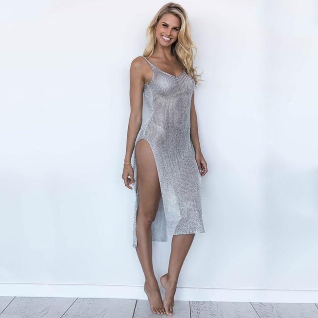 22227bd67f4e1 2019 Cozy Pareo Sexy knitted hollow Bikini Cover Up Summer Dress Swimwear  Swim Bathing Suit Cover ups Beach Tunic Saida de Praia