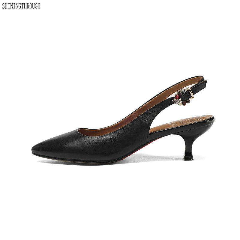 New high heels women pumps genuine leather women shoes pointed toe thin heel spring ladies shoes Black green aercourm a 2018 new women genuine leather shoes ladies white pink dress solid shoes thin heel women pointed head pumps fde1121