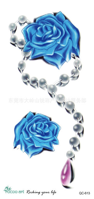 3D Blue Rose Tattoos Women Summer Style Pearl Necklace BLUELOVER ...