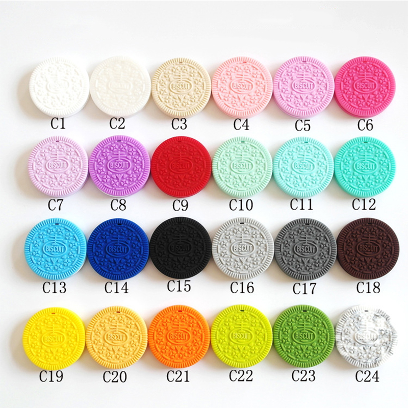 Silica Gel Food Grade Silicone Baby Teether Round Cookies Toddler Teething Toys Necklace 1 Pcs Teethers Baby Accessories Gift