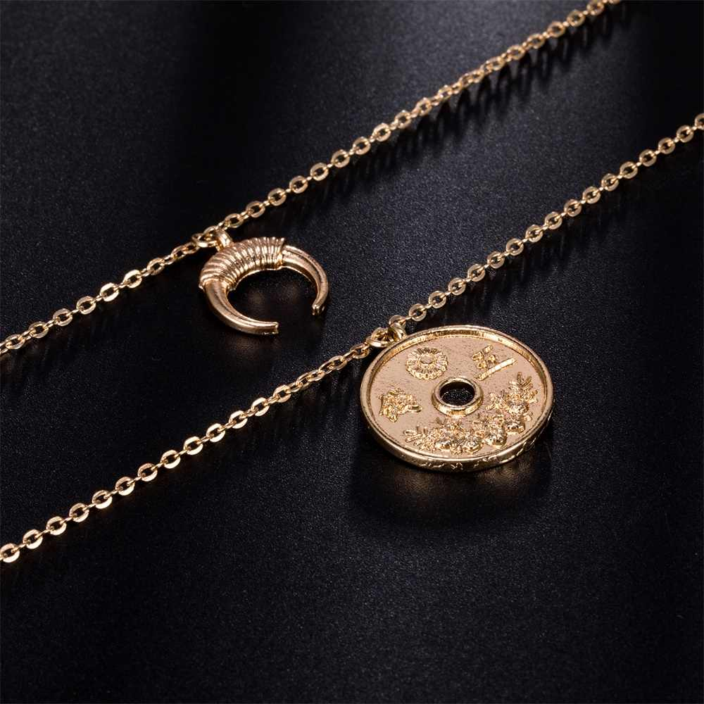 AILEND Fashion Women's Necklace Personality Retro New Coins Moon Combination Double Necklace Set Bohemian Jewelry