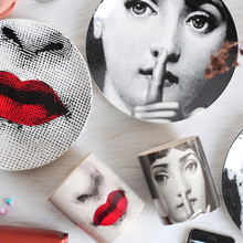 Fornasetti Crafts Decoration Ceramic Plates Home Decoration Plate Porcelain Wall Hanging Art Plates 8 Inch Wholesale