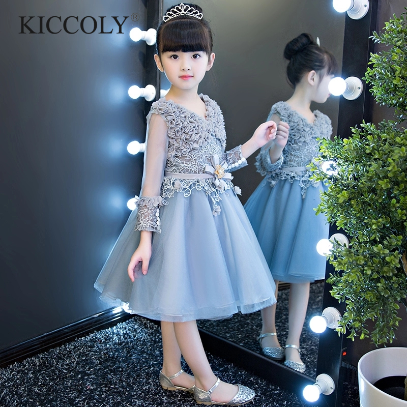 Glizt Bead Tulle first communion dresses for girls Long Sleeve Luxury Ball Gown Organza Flower Girl Dress for Weddings vintage round collar long sleeve embroidered organza dress for women page 7