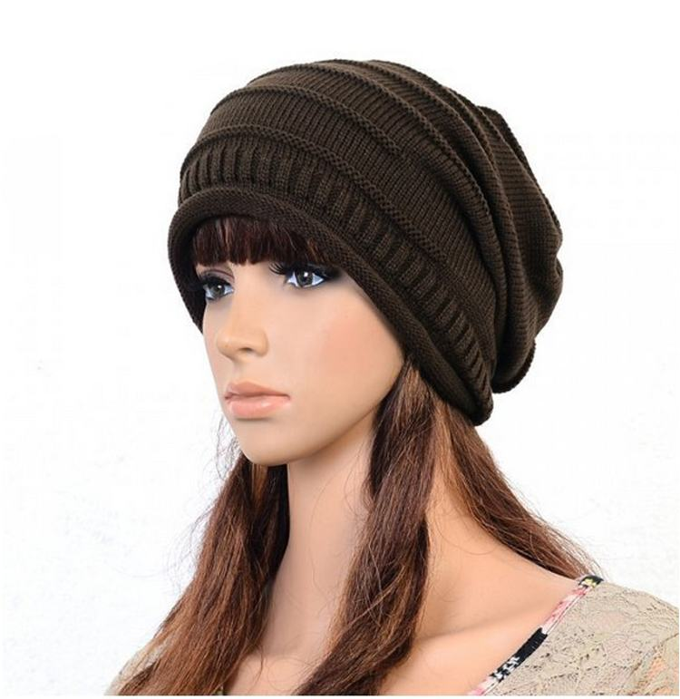 Women Winter Hat Caps Skullies Bonnet Winter Hats For Men Women Beanie Warm Baggy Knitted Hat Coffee Color skullies