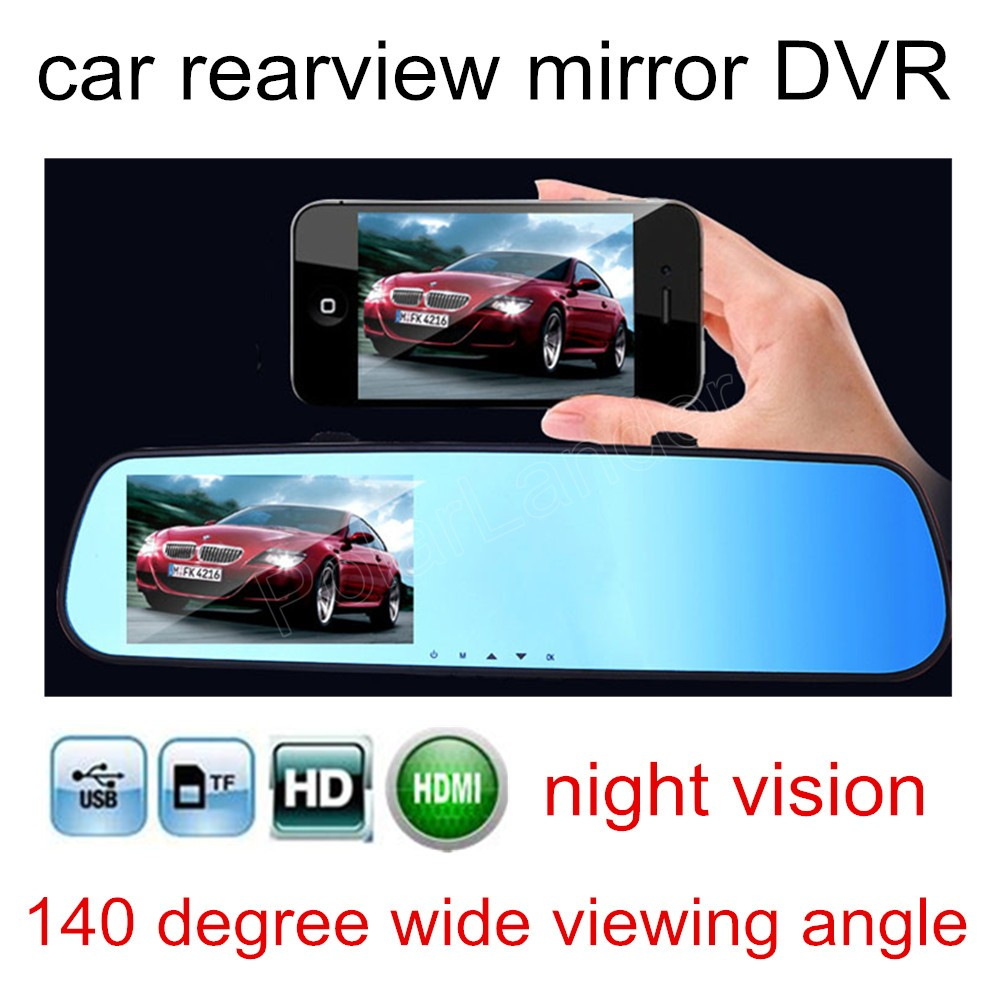 2016 New HD 4.3 Inch 1080P Car video Recorder Mirror DVR Dash Cam Rear View rearview camcorder 140 degree wide viewing angle image