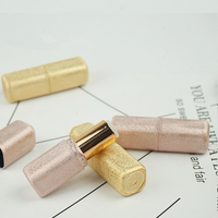 Metalic Glitter Matte Frosted Gold and Rose Gold sparkle Empty lipstick tube container DIY blank chapstick bottle wrinkled