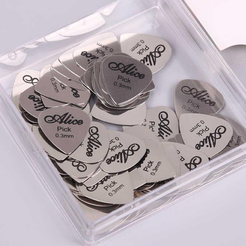 1 pieza Alice 0,3mm Metal Guitarra eléctrica acústica bajo Rock elegir Durable Acero inoxidable fino mediador Guitarra