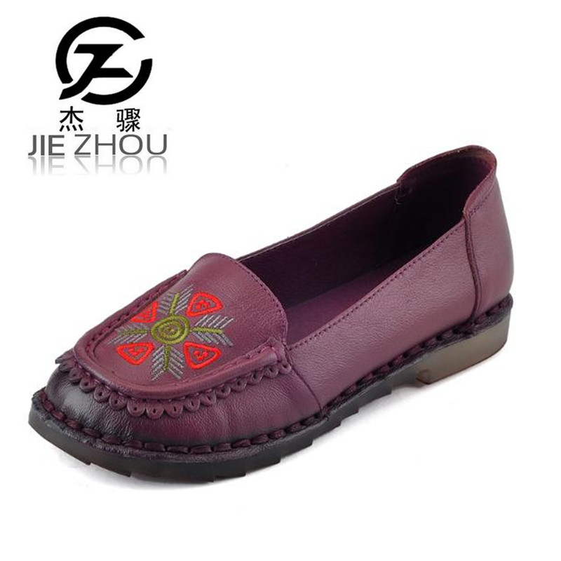 все цены на Spring round shallow mouth embroidery shoes flat non-slip leather mother shoes Plus Size soft soled Women shoes Free shipping