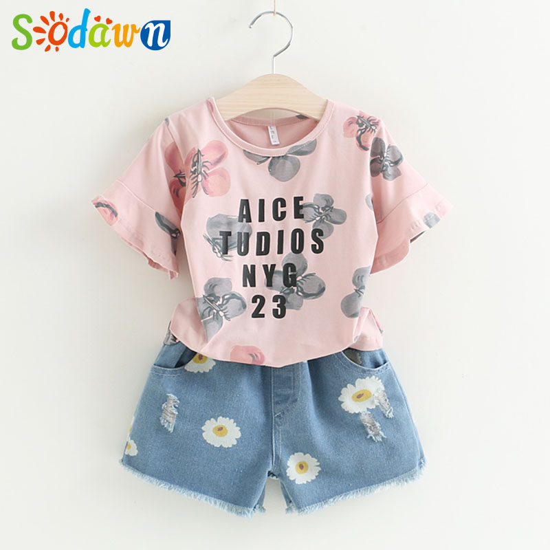 Sodawn Girls Clothing Sets 2017New Children Clothes 2Pcs Printed T-Shirt+Cowboy Print Shorts Summer Style  Fashion Girls Clothes