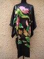 Preto das Mulheres Chinesas Tradicionais Robe Novidade Impresso Camisola De Seda Rayon Kimono Kaftan Vestido De Banho Vestido Plus Size 6XL WR019