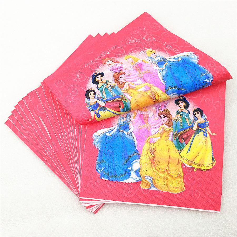 20pcs Ariel/Snow White/Belle/Cinderella/Jasmine/Aurora <font><b>princess</b></font> <font><b>party</b></font> paper napkins birthday <font><b>party</b></font> supplies tissue towels favors image