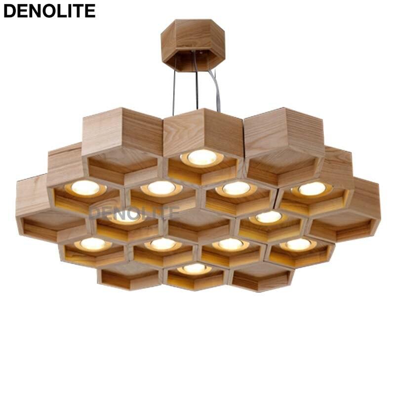 Nieuwste art bijenkorf ontwerp houten hanger verlichting met 12x3 w ...