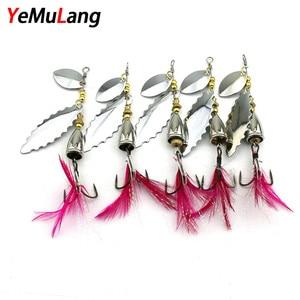 YeMuLang Brand 1PCS 9cm 10.5g VIB Fishing Lure Hard Bait Diving Swivel Jig Wobbler Iron Winter Bait With Hook For Fishing Tackle