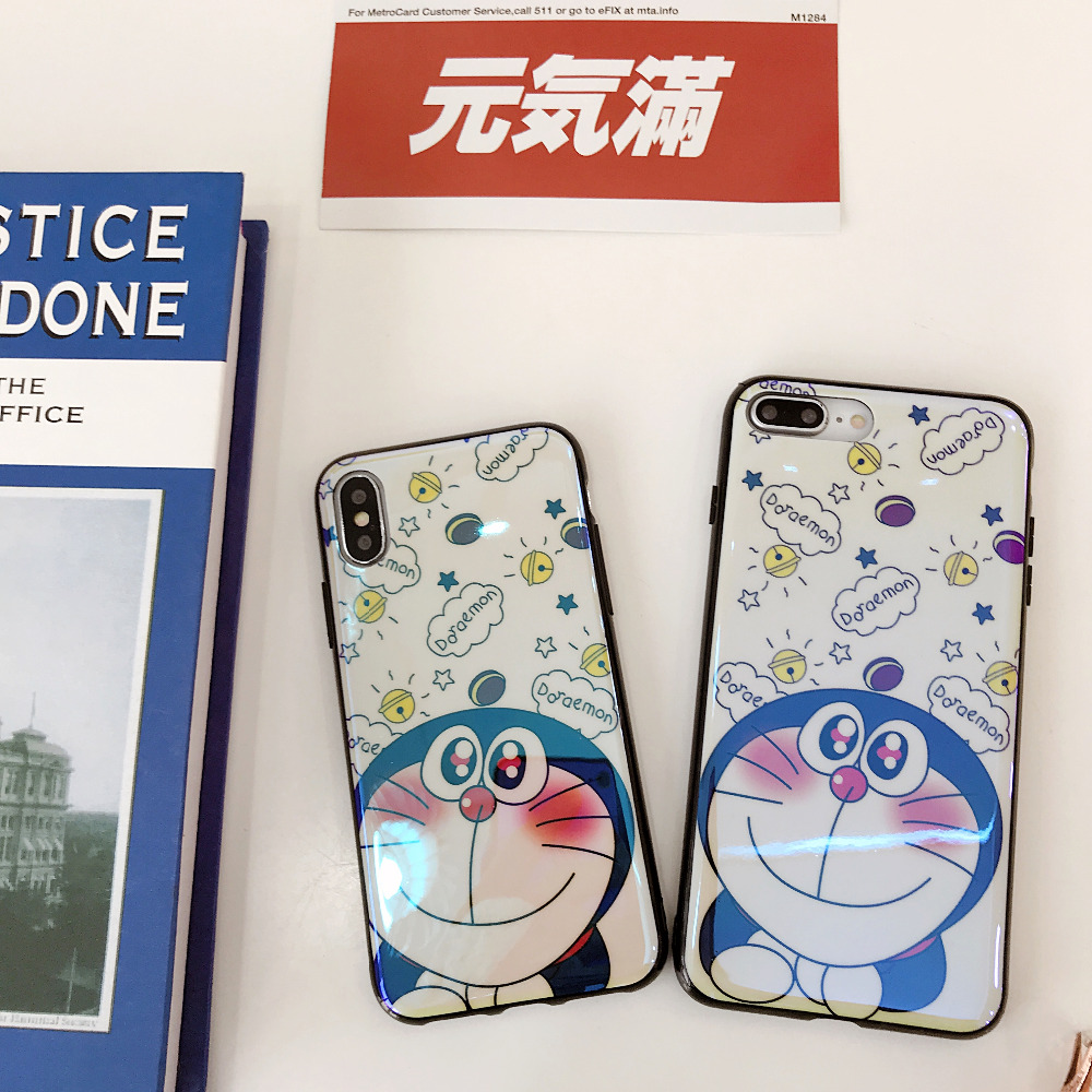 Popular cartoon Cute Doraemon Blue-ray phone case For iphone 6 6s 7 Plus 8 Plus Prevent scratch soft glossy case For iphone X 10