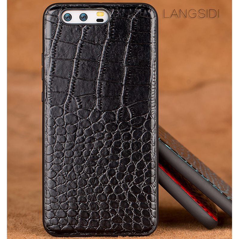 Image 2 - wangcangli phone case For Huawei P10 Plus Real Calf leather Back Cover Case/crocodile texture Leather Case-in Fitted Cases from Cellphones & Telecommunications