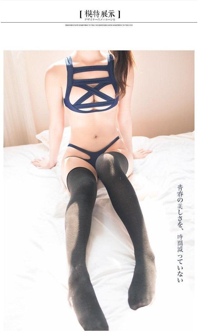 Hot New Japanese students Big Size Swimsuit Sukumizu School Swimwear bandageThree point sexy Bikinis set shoulders Deep blue 4