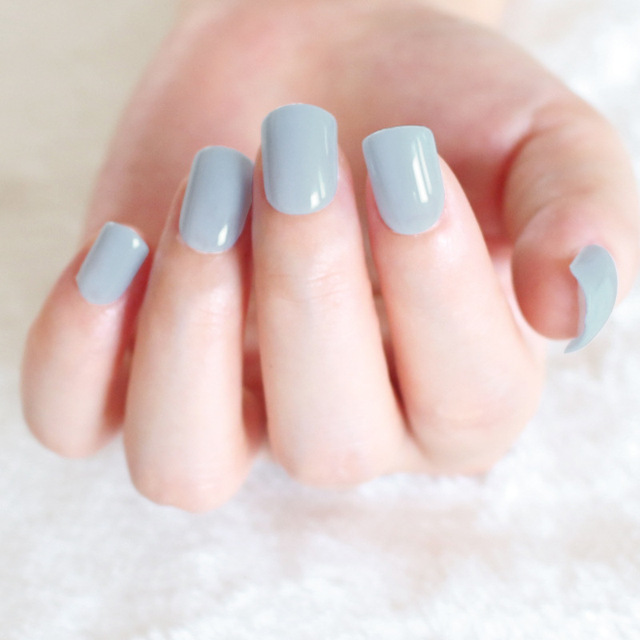 24 pcs pretty solid light blue false nails short cheap full nail 24 pcs pretty solid light blue false nails short cheap full nail art acrylic tips for prinsesfo Gallery