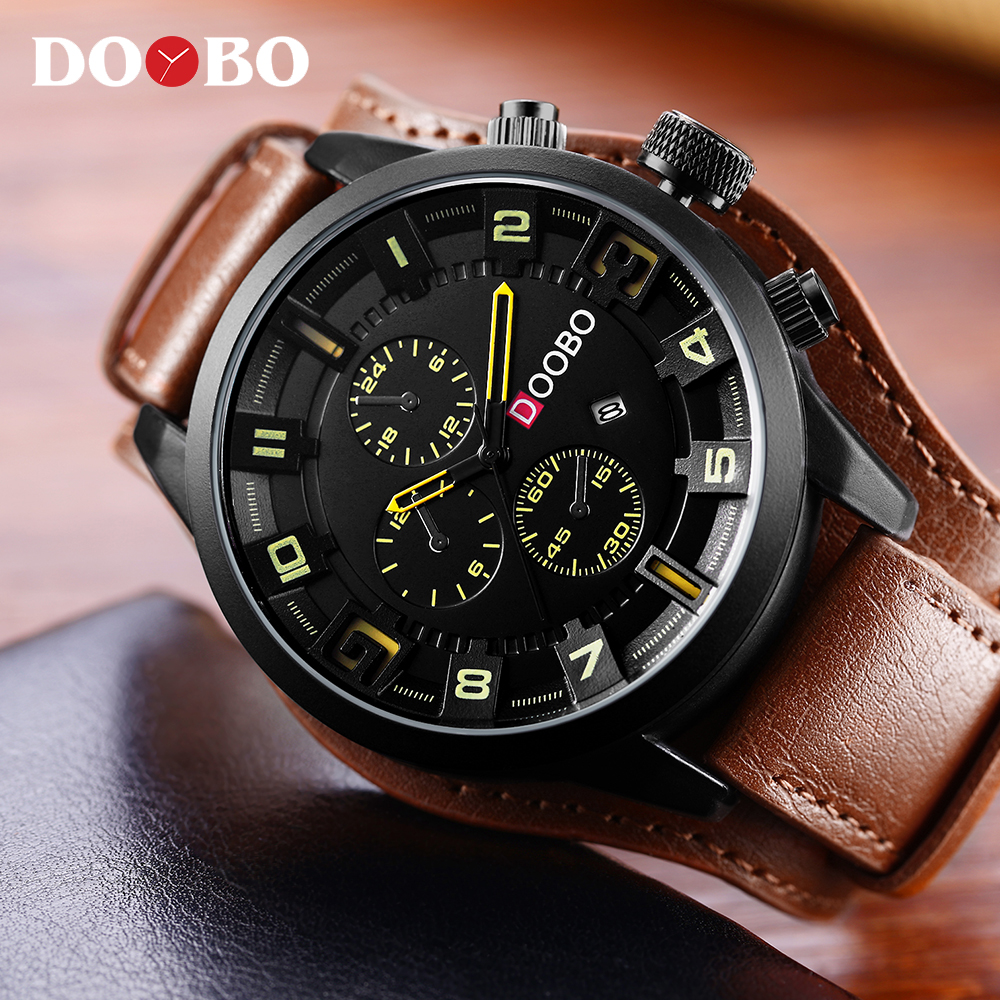 relogio masculino DOOBO Watch Men Military Quartz Watch Men Watches Top Brand Luxury Leather Strap Sports Wristwatch Date Clock