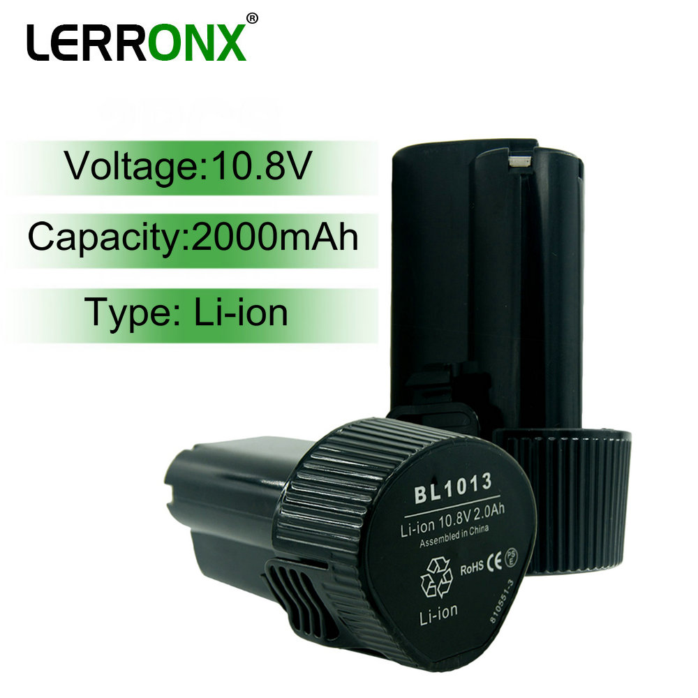 LERRONX BL1013 10.8V 2.0Ah Lithium Ion Replacement Rechargeable Battery For Makita Power Tools TD090D DF030D DF330D MUS052D