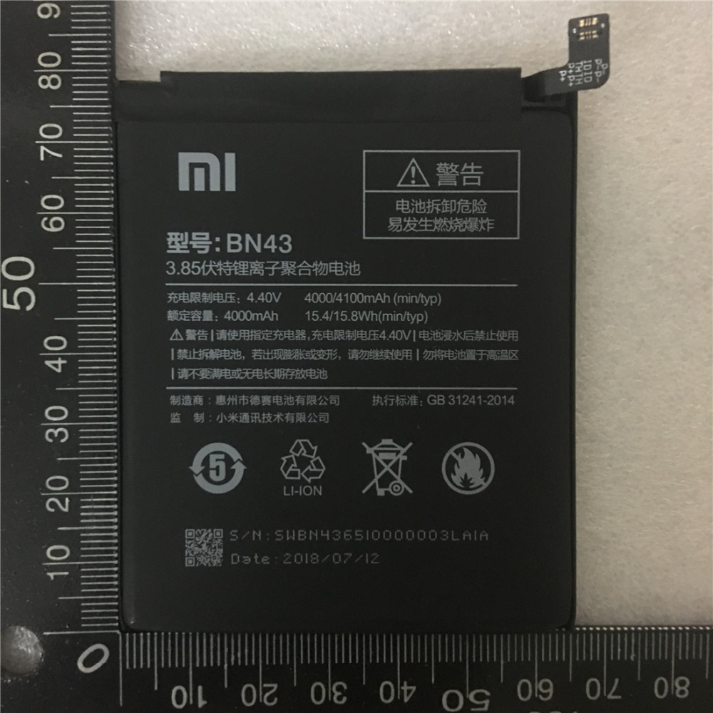 100% D'origine Réel 4100 mah BN43 Batterie Pour Xiaomi Redmi Note 4X Snapdragon 625/Note 4 mondiale Snapdragon 625