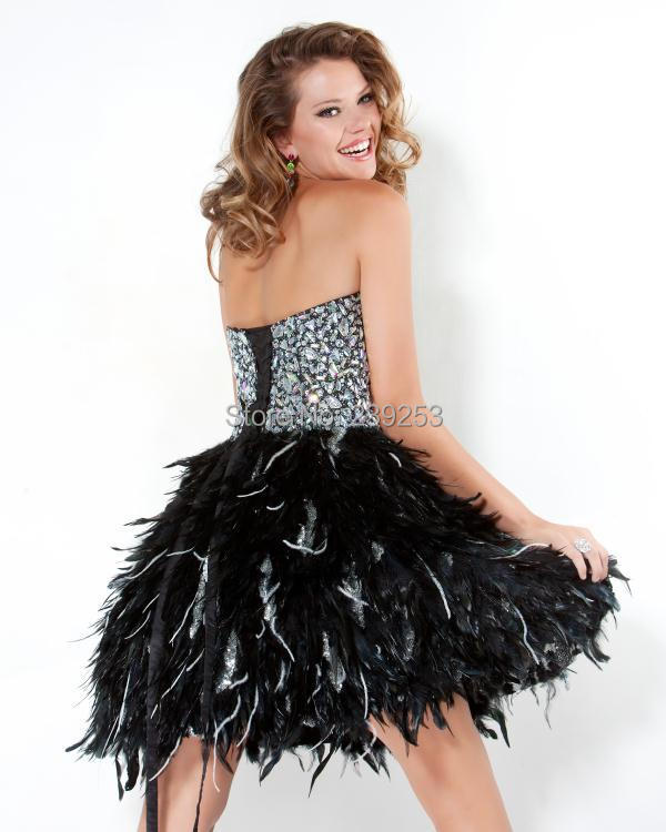Short black prom dresses with feathers