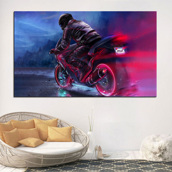 Retrowave Biker Pylot Synthwave Neon Motorcycle decoration home