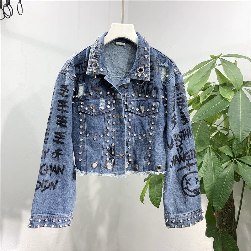 2018 Autumn Women Denim   Jackets   Fashion Diamond Short Design   Basic     Jackets   Graffiti Hole Jean Coats Z34