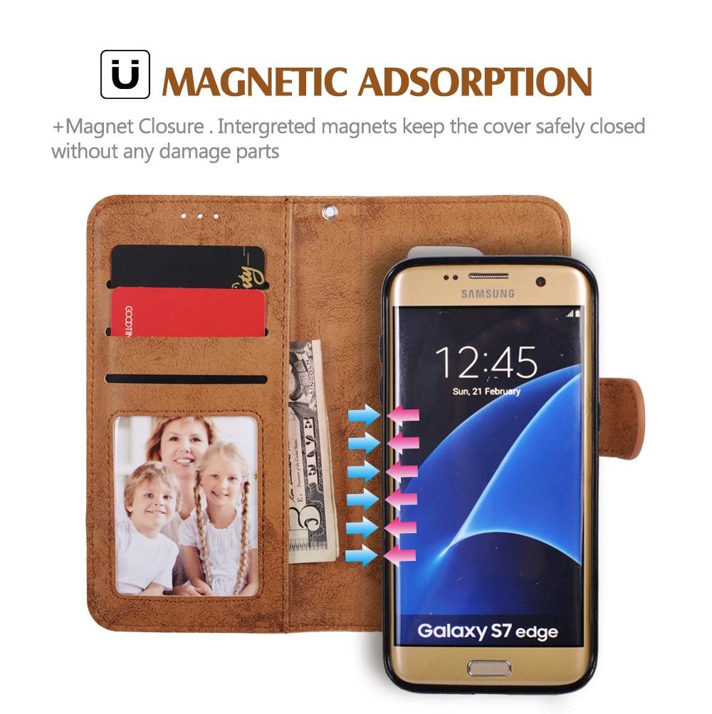 För Samsung Galaxy S8 Väska Flip Wallet 2 i 1 Avtagbar Retro Slim - Reservdelar och tillbehör för mobiltelefoner - Foto 3