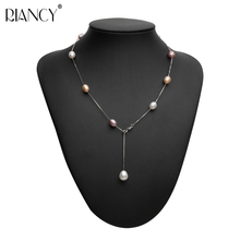 Fashion adjustable Pearl Necklace Jewelry Natural Freshwater Chokers 925 Sterling Silver