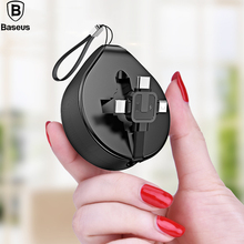 Baseus Retractable USB Cable For iPhone XS Max XR X 8 Data Charging Charger Cord 3 In 1 Micro USB Cable USB Type C Cable Adapter