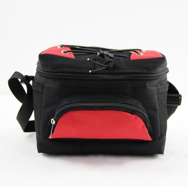 Insulated Lunch Cooler Bag Black Red Large Thermal Picnic Bag 6 Cans Bottle Beer Cooler Zipper Pocket Chopeira Stock Vkystar 315