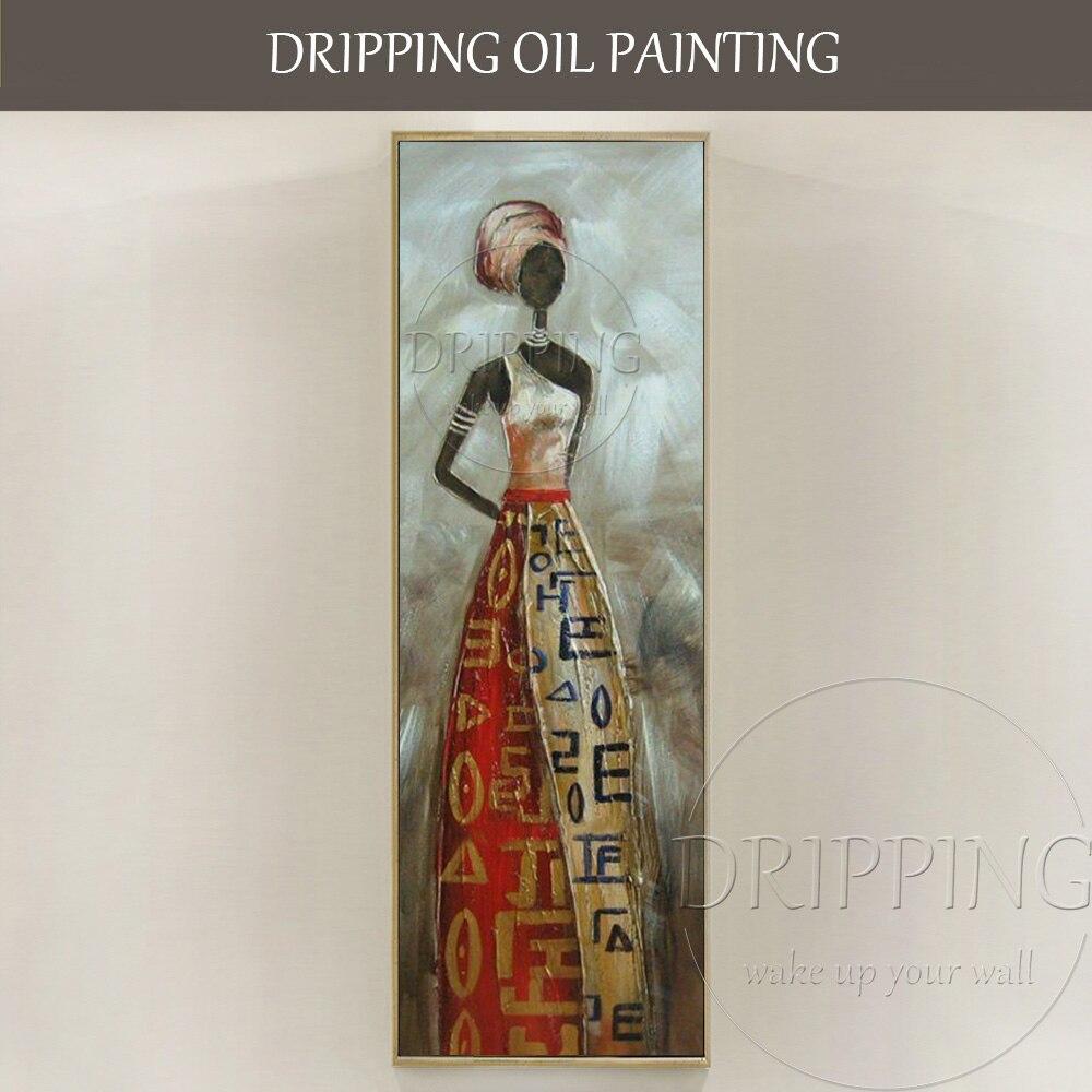 De luxe Mur Art peint à la Main de Haute Qualité Abstraite Moderne Femme Africaine avec Robe Peinture À L'huile Belle Femme Africaine Peinture