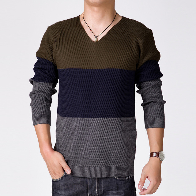 Mens Striped Sweater 2015 Stylish Long Sleeve Cotton Patchwork V