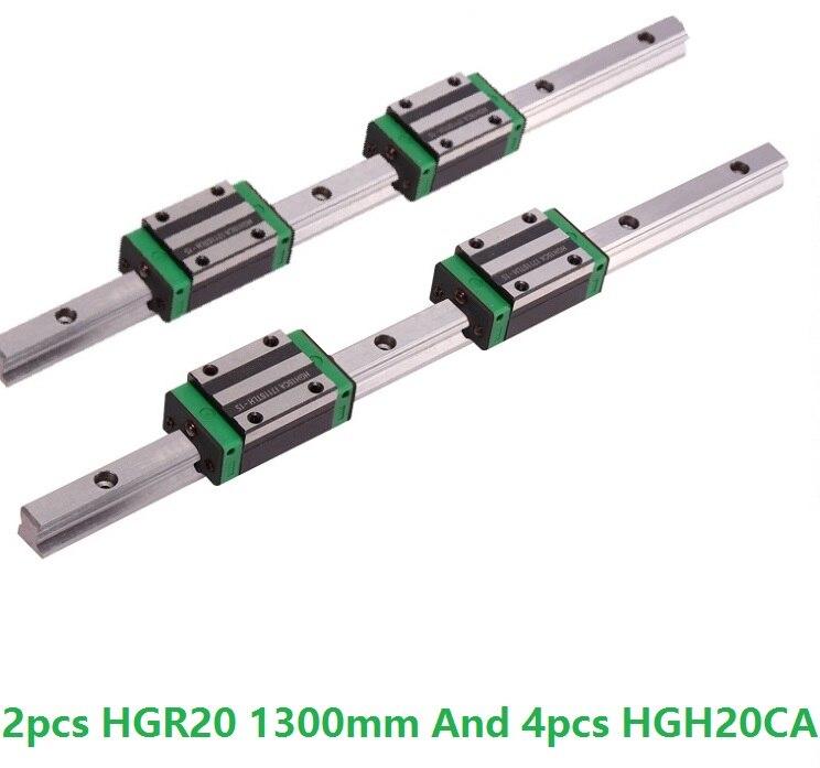 2 pz Lineare Binario di Guida HGR20-L 1300mm E 4 pz HGH20CA Lineare Stretta Blocchi di Scorrimento del Router di CNC parti2 pz Lineare Binario di Guida HGR20-L 1300mm E 4 pz HGH20CA Lineare Stretta Blocchi di Scorrimento del Router di CNC parti