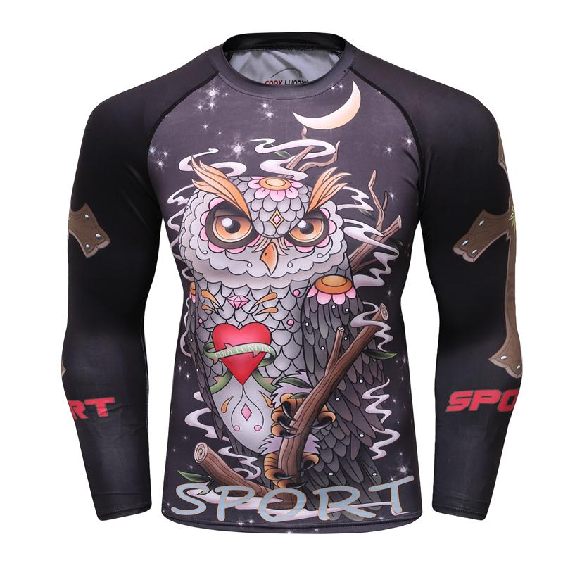 Camisa De Compressão Rashguard Manga Longa de Impressão 3D dos homens Jiu  Jitsu Camisetas MMA Crossfit 01a8637491a3a