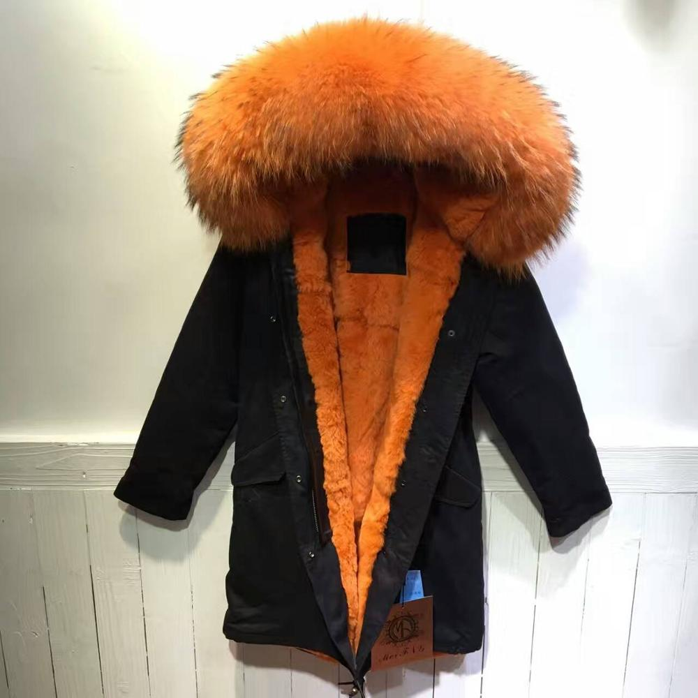 Online Shop Orange Raccoon mr fur parka with rex rabbit fur lining ...