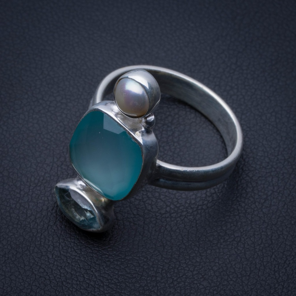 Alert Natural Chalcedony.blue Topaz And Blue Topaz 925 Sterling Silver Ring Us Size 7.75 R3017 Refreshing And Beneficial To The Eyes Jewelry & Accessories