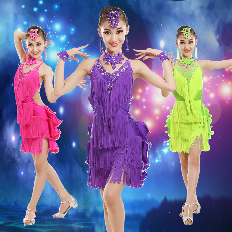 Children Professional Latin Dance Dress for Compeitition Tassel Girls Latin Dance Skirt Paillette Standard Ballroom Dance Dress