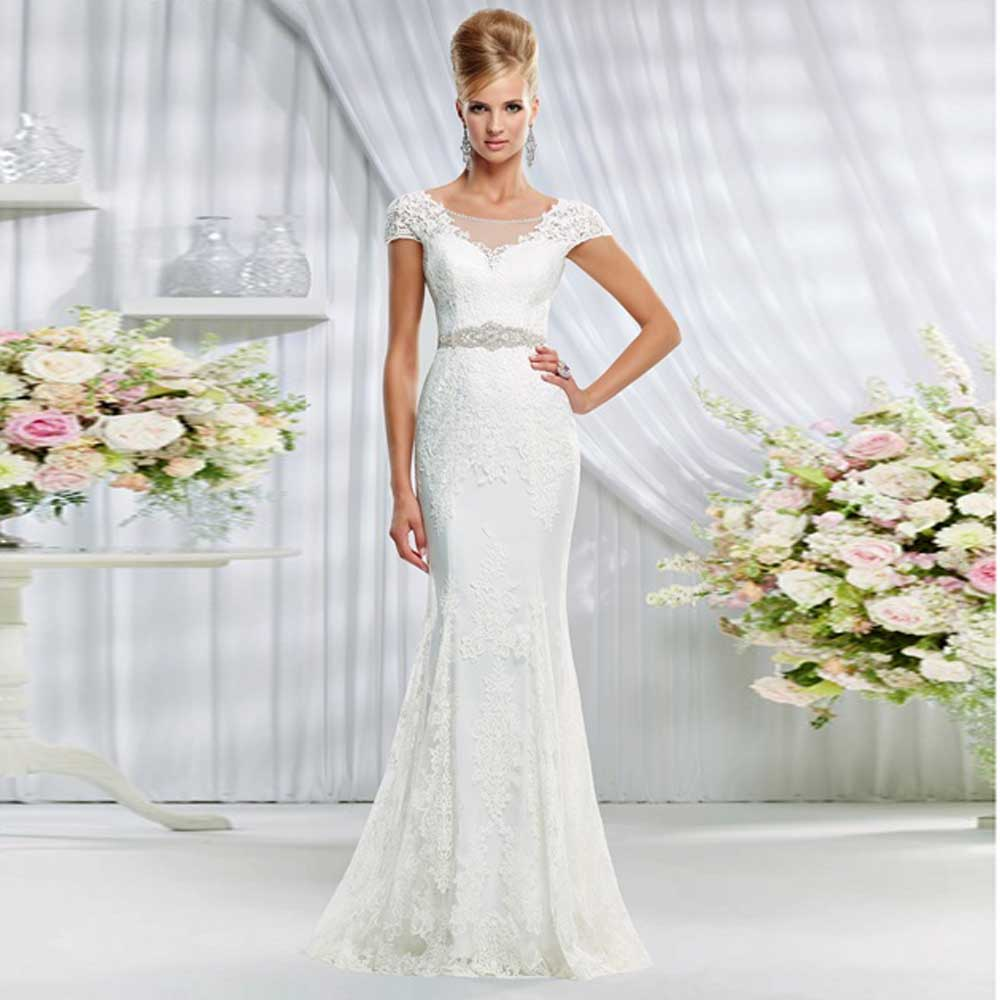 Trumpet Style Wedding Gowns: 2016 Elegant Style Lace Soft Material Trumpet Scooped