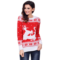 Deer Snowflake Christmas Sweater Women Autumn Winter O Neck Long Sleeve Casual Knittd Pullovers 2017 Pull