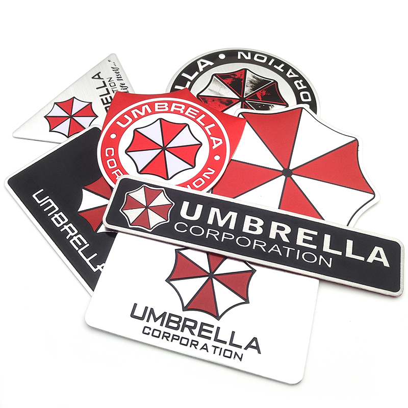 Car styling 3D Aluminum alloy Umbrella corporation car stickers Resident Evil decals emblem decorations badge auto accessories racing middle size resident evil decals bumper stickers for car