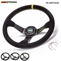PIVOT 350MM PVC Drifting Sport Racing Steering Wheel Horn Button Yellow Aluminum Frame TK FXP05OM YL