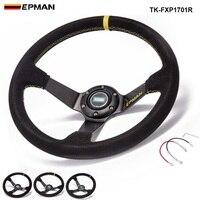 PIVOT 350MM PVC Drifting Sport Racing Steering Wheel Horn Button Yellow Aluminum Frame TK FXP05OM YL