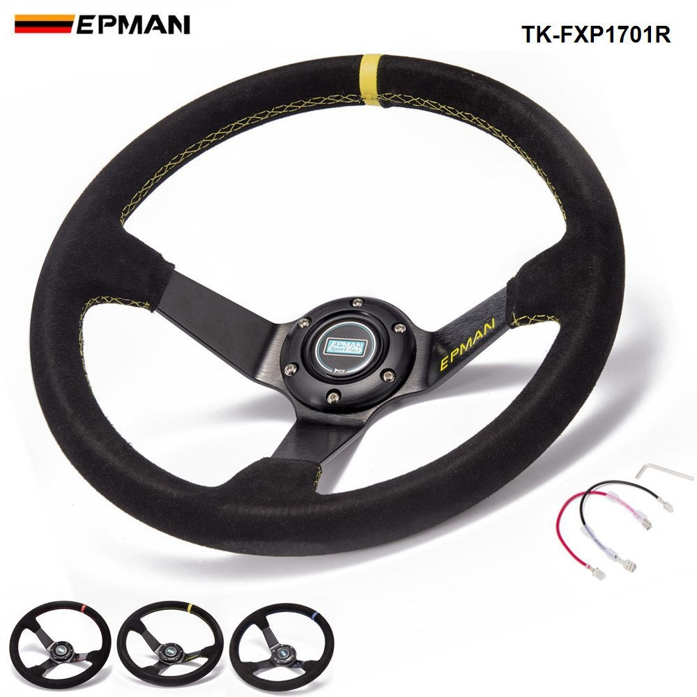 EPMAN Sport Car Aluminum 350mm Universal 3.5 Deep Dish Drift Racing Steering Wheels With Horn Button TK-FXP1701R ...