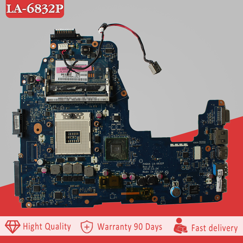 YTAI LA-6832P REV:2.0 For Toshiba Satellite A660 A665 Laptop Motherboard PHQAA LA-6832P REV:2.0 HM65 USB3.0 DDR3 Mainboard nokotion sps v000198120 for toshiba satellite a500 a505 motherboard intel gm45 ddr2 6050a2323101 mb a01
