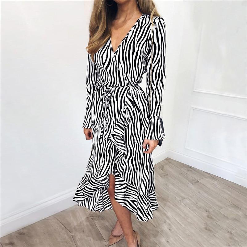 Long Dresses 19 Women Zebra Print Beach Bohemian Maxi Dress Casual Long Sleeve V Neck Ruffles Elegant Party Dress Vestidos 15