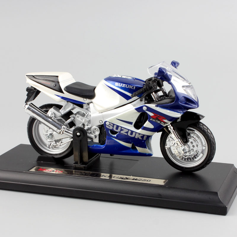 1 18 Scale Brand Children's Miniature SUZUKI GSX R750 Metal Die Cast Model Sport Bike Motorcycle Kids Auto Toy Race Car For Boy