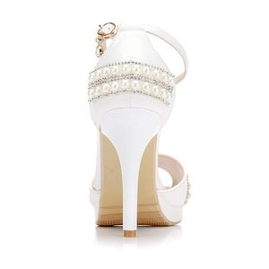 Image 3 - Crystal Queen Sexy Women Sandals High Heels Pearl Rhinestone Thin Heel Sandals Woman Flock Open Toe Ankle Strap Party Shoes